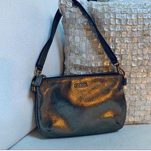 FOSSIL Leather Purse Gold/pewter color Bag L👀K